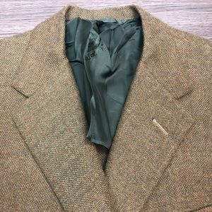 Oxxford Clothes Olive & Gold Check Blazer 41R